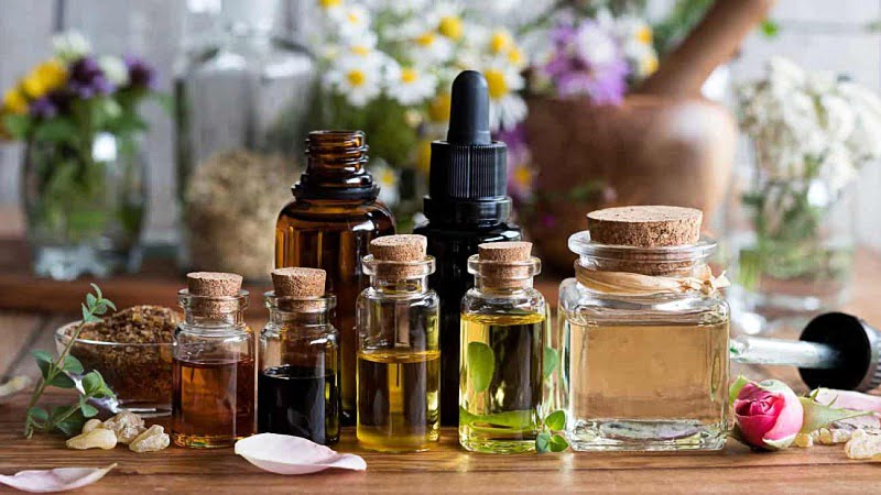 Different types of essential oils in bottle