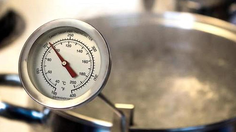 image of a thermometer attached to a pot with boiling water