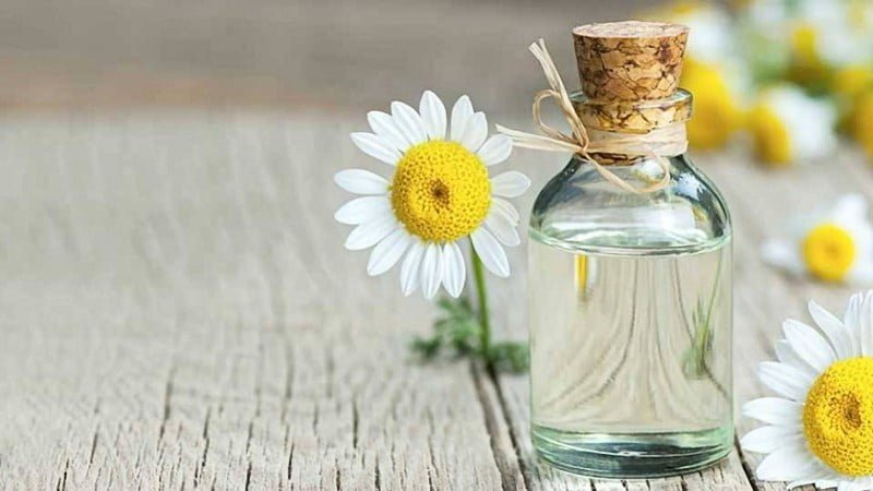 close up image of bisabolol oil in a bottle and flowers beside it